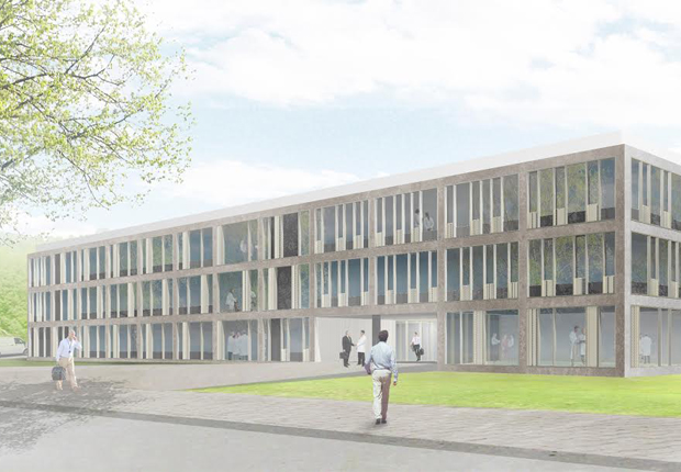 Außenansicht des neuen Gebäudes für den Bereich Forschung und Entwick- lung der Dr. August Oetker Nahrungsmittel KG (Blick von der Blücherstraße). (Foto: Dr. Oetker GmbH)