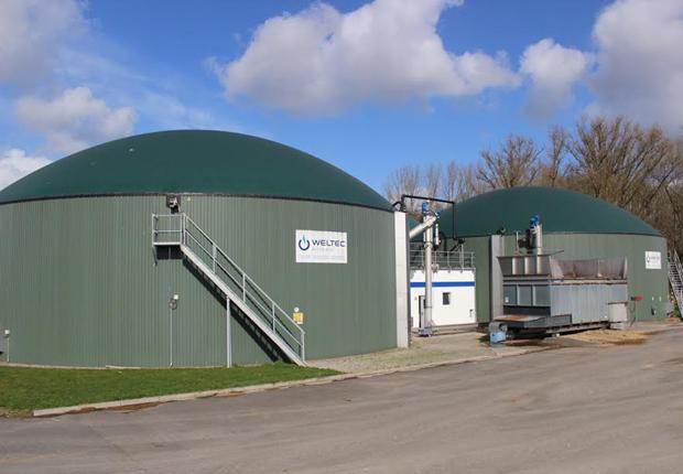 Den beiden 2.625 Kubikmeter messenden Edelstahl-Fermentern ist für die optimale Bevorratung eine unterirdische Grube als Vorlager vorgeschaltet. (Foto: WELTEC BIOPOWER GmbH)