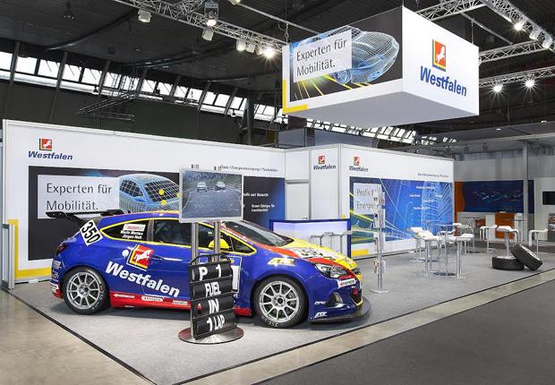 Der Westfalen Opel, der in der VLN-Langstreckenmeisterschaft auf dem Nürburgring startet, ist ein Hingucker auf dem Messestand der Westfalen Gruppe. (Foto: Westfalen AG)