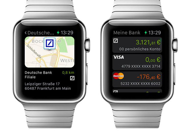 Deutsche Bank Apple Watch App Filialfinder Karte/ Finanzübersicht. (Foto: Deutsche Bank)