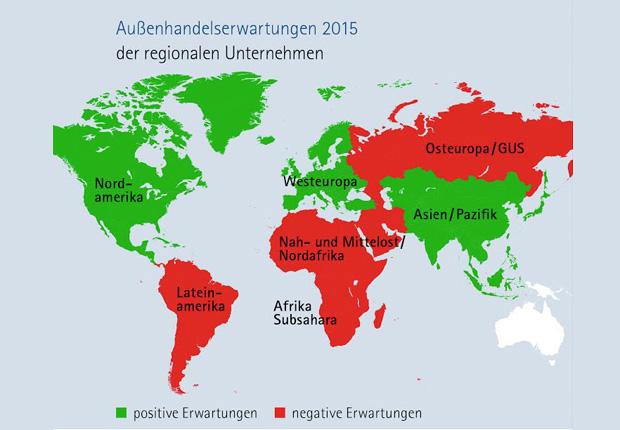 Außenhandelserwartungen der Unternehmen im IHK-Bezirk nach globalen Regionen. (Foto: IHK Osnabrück)