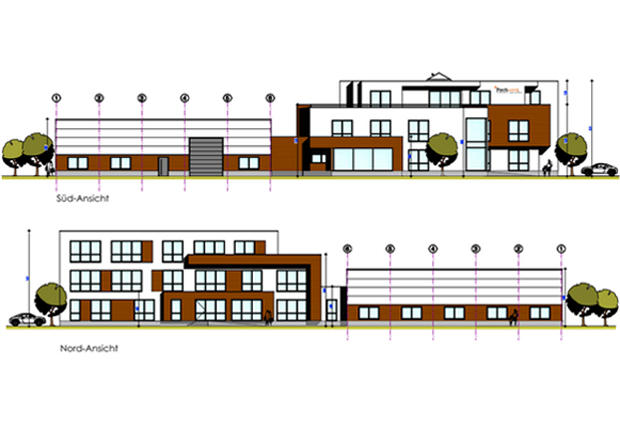 Ein heller Neubau mit viel Holz und Glas beherbergt künftig die Zentrale der Non- Profit-Organisation Fachwerk e.V. im ecopark. Die Unternehmensgruppe Siemer Immobilien startet mit dem Bauvorhaben noch in diesem Sommer. (Quelle: Architektur & Planung Haves (Lohne))
