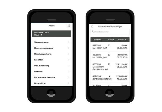 Das Lagerverwaltungssystem UniLVS läuft auf einem Smartphone und unterstützt den Lagermitarbeiter bei sämtlichen Warenbewegungen. Der Beleg-Pool dient als praktischer Organisator bei der täglichen Arbeit. (Foto: PADERSOFT GmbH & Co. KG)
