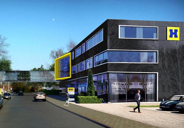 Visualisierung der Neubaupläne am Nienkamp. Vorderansicht mit der Anbindung an die bestehenden Gebäude. (Bild: Hengst)