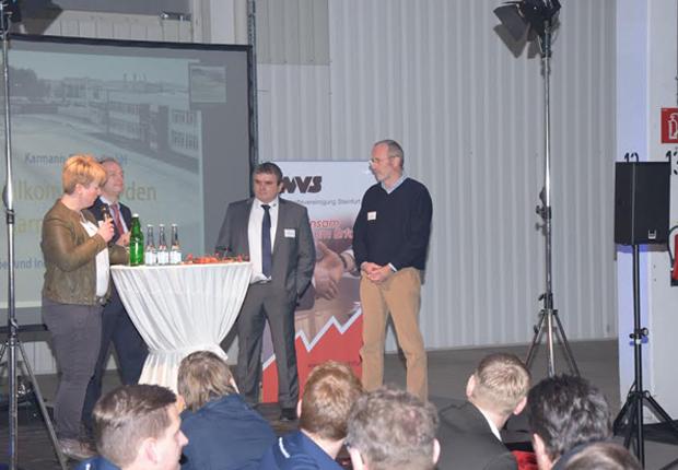 Frühstücks.talk bei Meet &Eat: Gäste (v. r.n.l.) Robert Schmitz - Hardy Schmitz, Klaus Winnemöller - W+W Metalltechnik, Joachim Dallwig – WKO, Bettina Thelen-Reloe - EWG (Foto: EWG für Rheine mbH)
