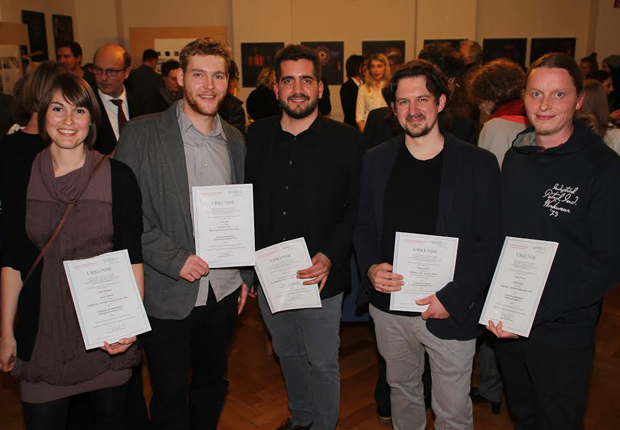Die Preisträger (v.l.n.r.) Ingrid Mackinger, Philipp Hiller, Eike Scheps, Marcel Cardinali und Florian Tolksdorf (Foto: Stadt Detmold)