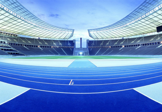 Olympiastadion Berlin mit Melos Granulaten. (Foto: Melos GmbH)