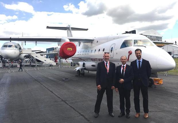 Farnborough Airshow 2016 v.l. Robert Heggemann (CEO), Robert Palaic (Sales Director), Dr. Christian Howe (COO) (Foto: HEGGEMANN AG)