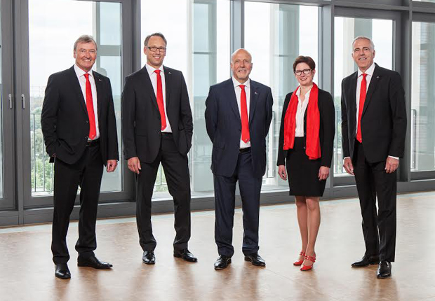 Der neu formierte Vorstand der Westfalen AG (v. li.): Reiner Ropohl, Torsten Jagdt, Wolfgang Fritsch-Albert, Dr. Meike Schäffler, Dr. Carsten Wilken. (Foto: Westfalen AG, Münster)
