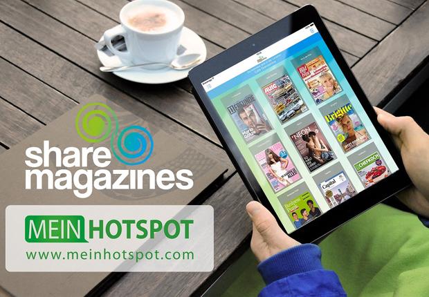Das Oldenburger Start-Up sharemagazines und das Berliner Unternehmen MeinHotspot verkünden eine enge Zusammenarbeit im Vertrieb. Dabei wird der digitale Lesezirkel in Zukunft im Paket mit den MeinHotspot-Systemen erhältlich sein. (Foto: sharemagazines GmbH)
