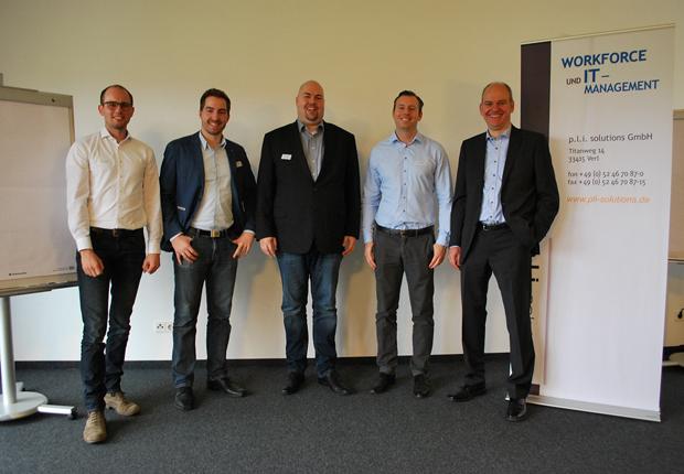 v.l.n.r.: Christian Brandhorst, Stefan Mrozek, Jörg Kütemeier, Thomas Lang, Volker Johannhörster (Foto: p.l.i. solutions GmbH)