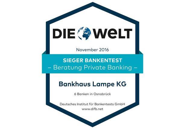 """Niederlassung Osnabrück des Bankhaus Lampe schneidet mit """"Sehr gut"""" (Note:1,08) ab und ist Testsieger in der Region. (Bild: Deutsches Institut für Bankentest GmbH)"""