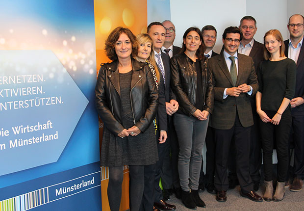 Beim Besuch einer baskischen Wirtschaftsdelegation präsentierte der Münsterland e.V. Wissenswertes zur Wirtschaftsregion Münsterland.