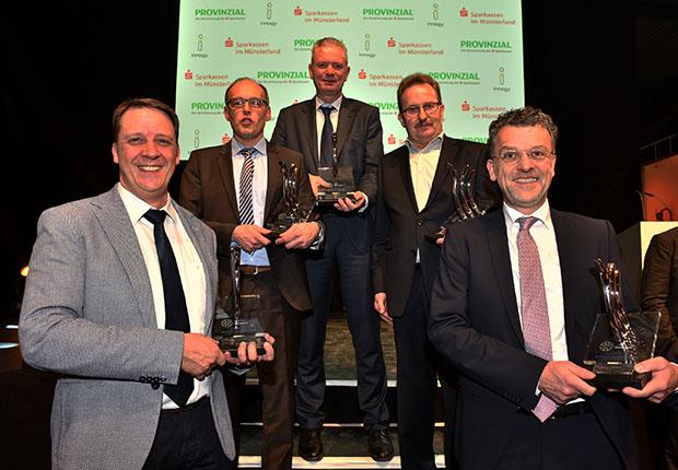 Fünf Preisträger beim Innovationspreis Münsterland 2017.