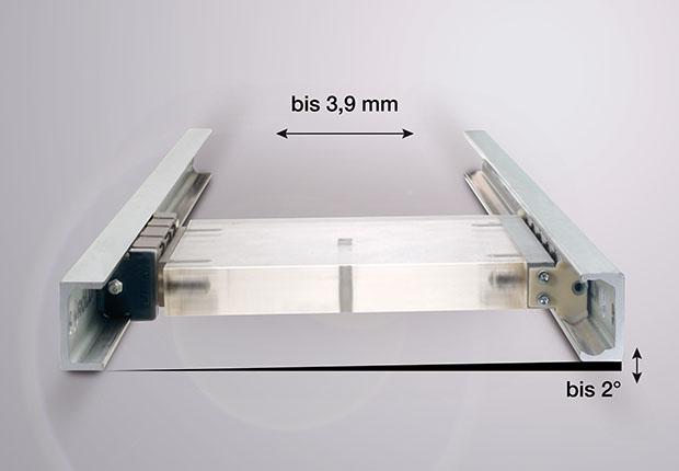 Die universell einsetzbaren Compact Rail-Laufrollenführungen von Rollon sind sehr robust und ermöglichen einen Toleranzausgleich durch Selbstausrichtung in zwei Ebenen.