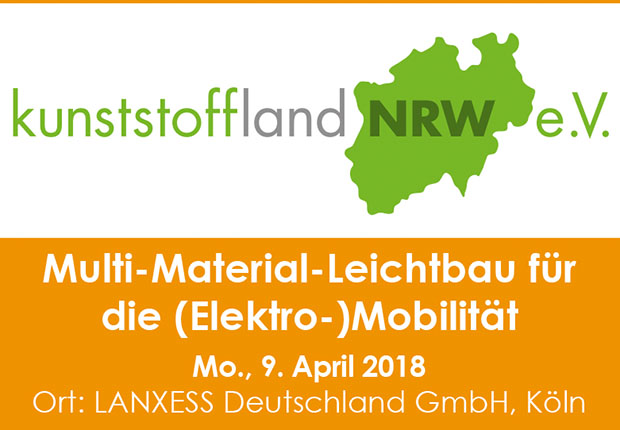 Die Kunststoffland NRW Veranstaltung Multi-Material-Leichtbau für die (Elektro-)Mobilität – Herausforderungen und Chancen für NRW wird am am 09. April 2018 bei LANXESS Deutschland in Köln stattfinden. (Bild: kunststoffland NRW e.V.)