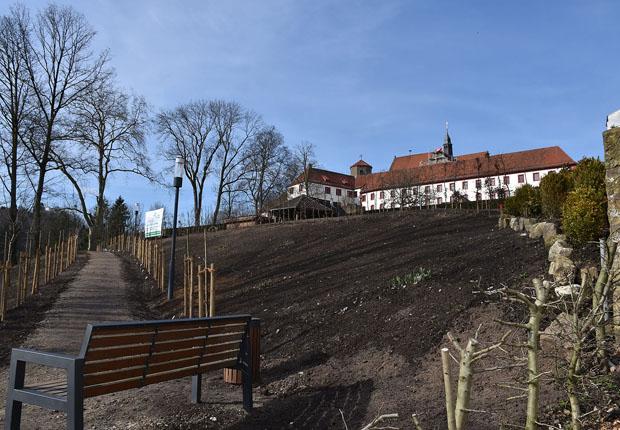 Das Gelände des Pomariums unterhalb des Knotengartens am Südhang des Schlosses. (Foto: Förderverein Landesgartenschau 2018 Bad Iburg e.V.)