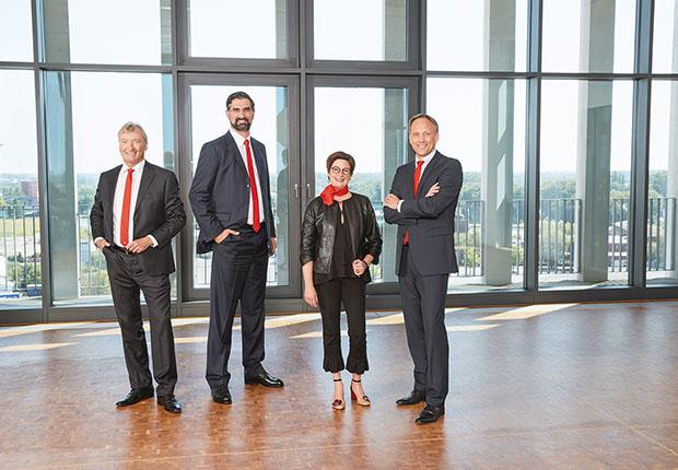 Das Vorstandsteam der Westfalen Gruppe ist komplett (v. li.): Reiner Ropohl, Dr. Thomas Perkmann (Vorsitz), Dr. Meike Schäffler und Torsten Jagdt. (Foto: Westfalen AG, Münster)