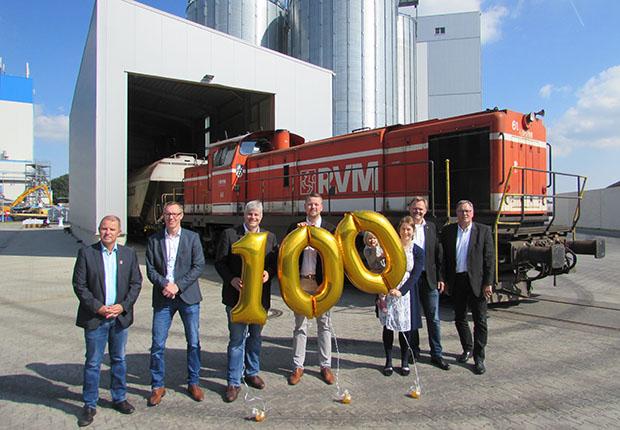 Der 100. Getreidezug erreicht Hemelter Mühle im Speller Hafen