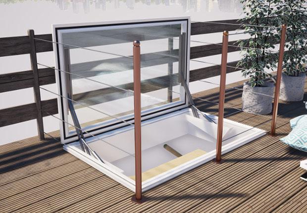"""Mithilfe des neuen Dachausstiegsbeschlages """"DA-EL"""" der JET-Gruppe (Hüllhorst) können künftig auch Lichtkuppeln und hochwertige Echtglaselemente für den bequemen Ausstieg auf das Flachdach genutzt werden. (Foto: JET-Gruppe)"""