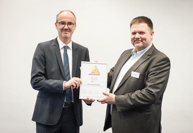 SAM – Digitalisierungslösung ganz weit vorne. Geschäftsführer Marc Vathauer nahm beim Automation Award 2018 im feierlichen Rahmen den Automation Award für den 3. Platz freudig entgegen. (Foto: MSF-Vathauer)