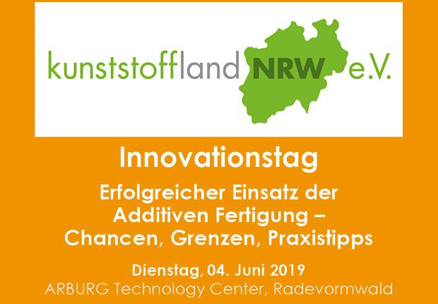 """kunststoffland NRW Innovationstag, 04. Juni 2019 """"Erfolgreicher Einsatz der Additiven Fertigung – Chancen, Grenzen, Praxistipps"""". (Bild: kunststoffland NRW e.V.)"""