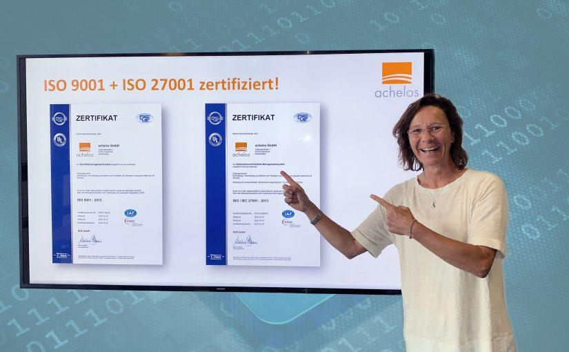 Achelos nach ISO 9001 und ISO 27001 zertifiziert