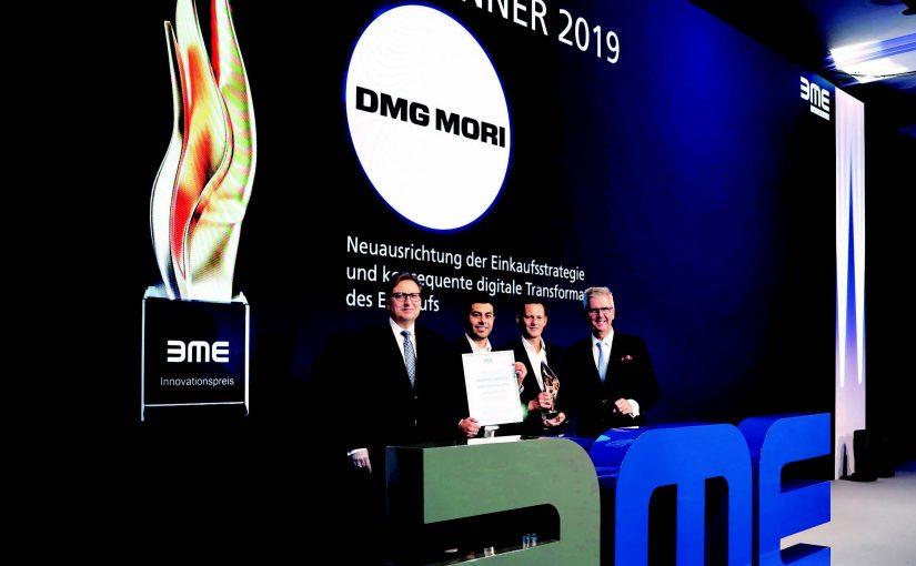Besondere Ehrung: DMG MORI erhält den diesjährigen Innovationspreis des Bundesverbands Materialwirtschaft, Einkauf und Logistik e.V. (BME) für sein erfolgreiches Einkaufs- und Logistikmanagement. (v.l.n.r.: Dr. Silvius Grobosch, BME-Hauptgeschäftsführer, Tanju Durmaz, Leiter Corporate Purchasing Strategy DMG MORI, Timo Rickermann, Chief Purchasing Officer DMG MORI und Dr. Michael Nießen, Jury-Sprecher BME-Innovationspreis) - Foto: DMG Mori