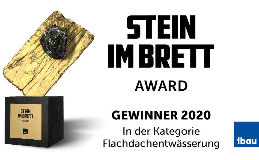 """Sita Bauelemente GmbH ausgezeichnet mit dem """"Stein im Brett AWARD"""": Der Gullyhersteller aus Rheda-Wiedenbrück wurde von Praktikern auf Platz 2 im Bereich Flachdachentwässerung gewählt."""