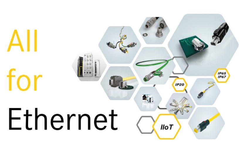 """Unter dem Claim """"All for Ethernet"""" setzt HARTING neue Standards für industrielle Netzwerke."""