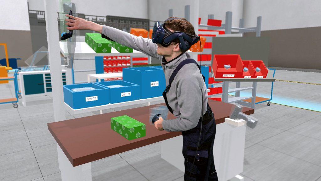 """""""Die Softwarelösung Boxplan ermöglicht es den virtuellen Shopfloor zu betreten, ihn in VR zu planen und zu erproben."""" Bildquelle: Halocline"""