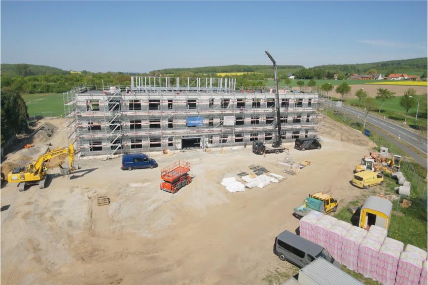 Voll im Plan liegen die Bauarbeiten der Goldbeck-Niederlassung Münster zur neuen VIRO-Zentrale. Das internationale Ingenieurbüro verlegt seinen Deutschland-Sitz von Osnabrück nach Dissen am Teutoburger Wald. (Quelle: Goldbeck Niederlassung Münster)