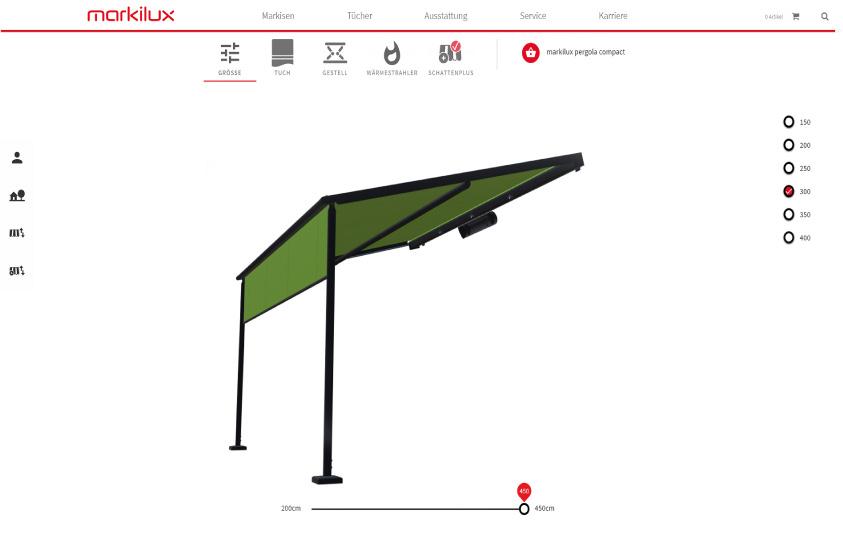 Der neue Produktkonfigurator von markilux hat eine noch intuitiver bedienbare Navigation bekommen. Zudem bietet er jetzt eine dreidimensionale Produktansicht, die sich in alle Richtungen schwenken lässt. So kann man die getroffene Auswahl von Markise, Tuch und Zubehör aus verschiedenen Perspektiven und auch an einer Hausansicht betrachten. - Foto: markilux