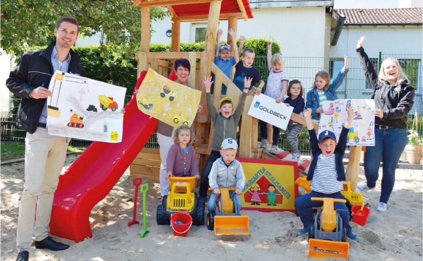 Baggern dank Goldbeck: Osnabrücker Kitas erfreut über Spielfahrzeuge