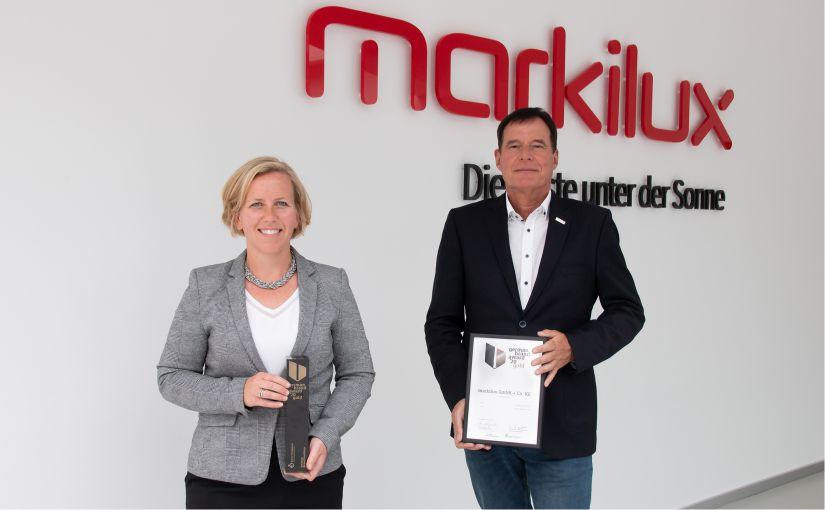 Klaus Wuchner, Geschäftsführer für Vertrieb und Marketing und Christiane Berning, Leiterin der Abteilung Marketing und Business Development freuen sich erneut über die Auszeichnung. - Foto: markilux