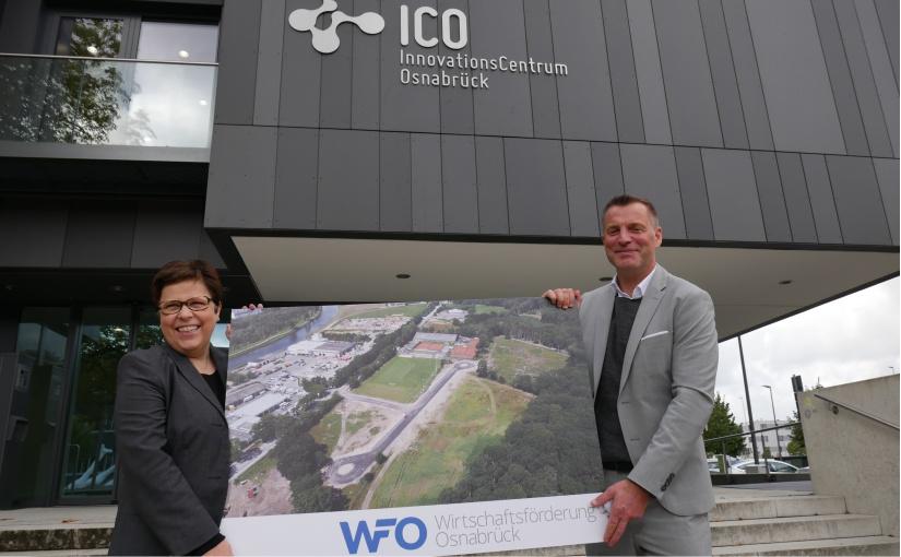 Stellten im InnovationsCentrum Osnabrück das neue Sondergebiet Güterverkehrszentrum Hafen vor: Dr. Petra Bergmann, Prokuristin der Wirtschaftsförderung Osnabrück (WFO) und WFO-Geschäftsführer Ralf Minning. - Foto: WFO