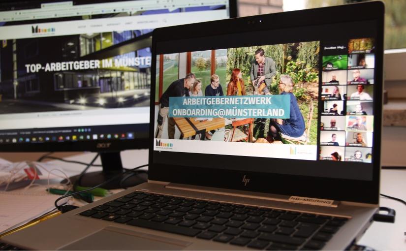 Online kamen die Mitglieder des Arbeitgebernetzwerks Onboarding@Münsterland am Dienstag erstmals zusammen und tauschten sich aus. Digitales Netzwerktreffen. - Foto: © Münsterland e.V.