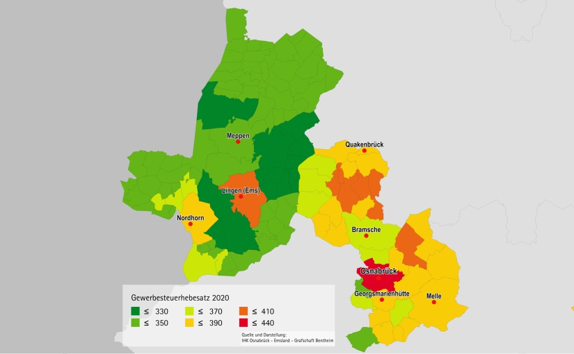 Osnabrück bleibt regionaler Spitzenreiter beim Gewerbesteuerhebesatz
