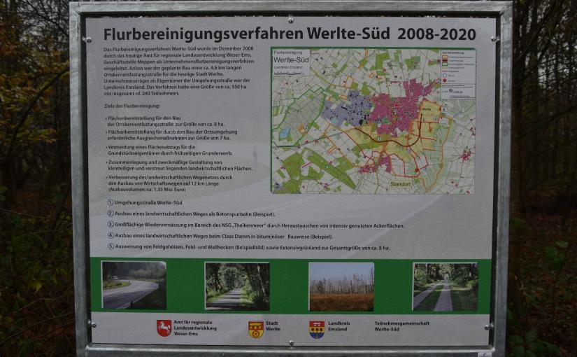 Informationstafel zum Flurbereinigungsverfahren Werlte-Süd. - Bild/Grafik: Samtgemeinde Werlte