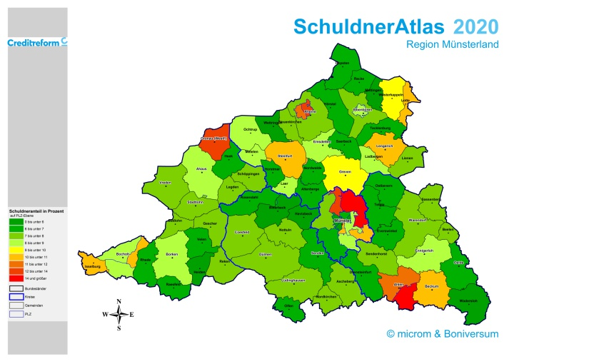 Überschuldung im Münsterland sinkt weiter, aber Trendwende absehbar