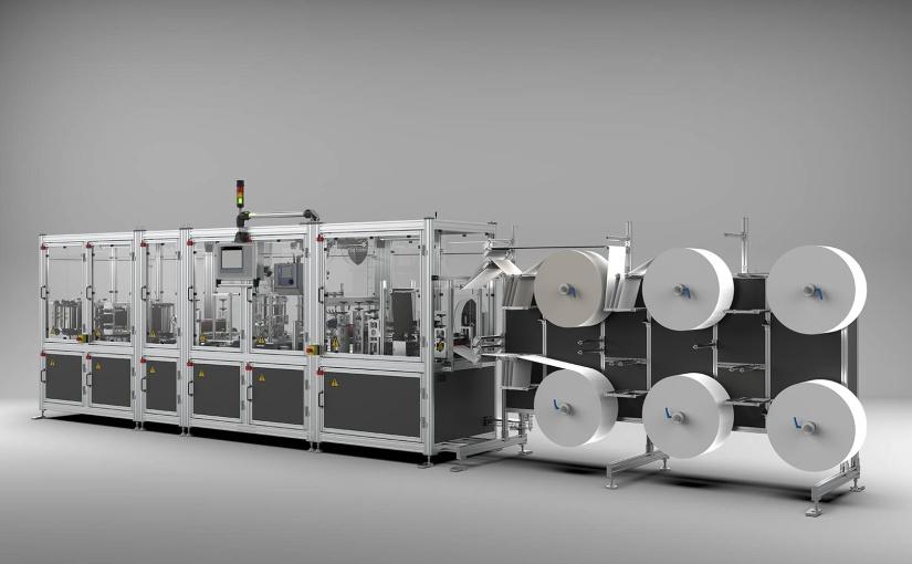 Diese Maschine produziert bis zu 72.000 FFP Masken pro Tag. Für die Sicherheit an der Maschine selbst sorgt Sicherheitstechnik von BERNSTEIN. - Foto: Schott & Meissner /BERNSTEIN