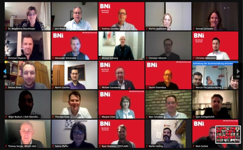 49 Teilnehmer beim BNI Delius (Versmold)- Unternehmerteam-Gründungsevent – sicher und effizient in der Online-Konferenz. - Foto: Mareike Venherm
