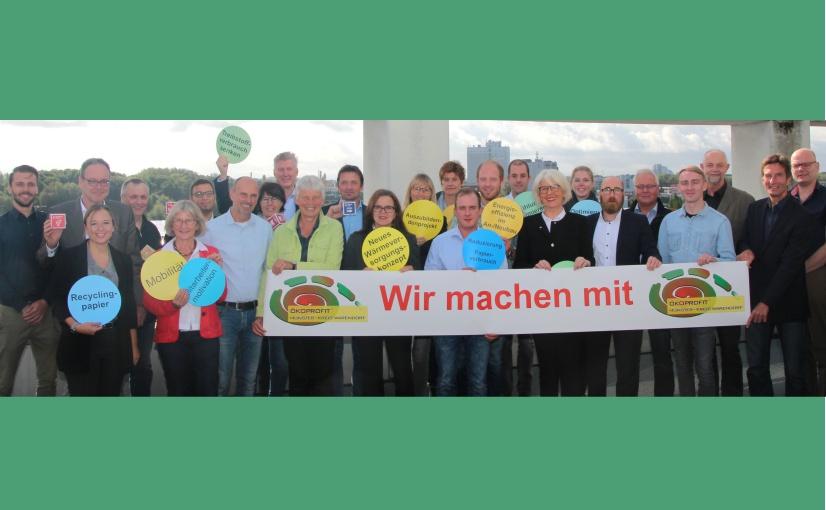 """Zwischenbilanz: """"Teilnehmer*innen der vergangenen ÖKOPROFIT Runde Münster/Kreis Warendorf bei der Zwischenbilanz (2019)."""" - Foto: Stadt Münster"""