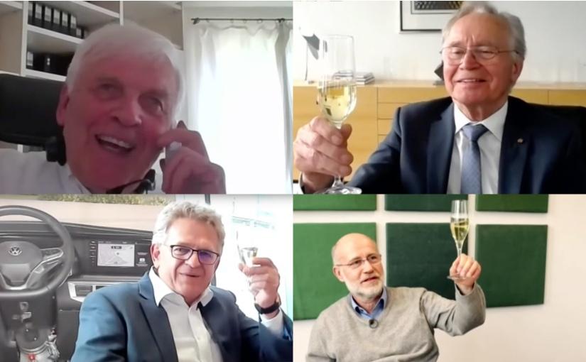 """Die Preisträger von oben links nach unten rechts: Prof. Dr. Dr. h.c. mult. Johann Löhn, Steinbeis Stiftung für Wirtschaftsförderung (""""Beste Innovationsförderung""""), Ortwin Goldbeck, GOLDBECK GmbH (""""Erfolgreichste Innovationsleistung""""), Roland Arnold, PARAVAN GmbH (""""Nachhaltigste Innovationsleistung""""), Harald Lesch, Terra X Lesch & Co, ZDF (""""Beste Medienkommunikation""""). - Bild Copyright: Deutsches Institut für Erfindungswesen e.V."""