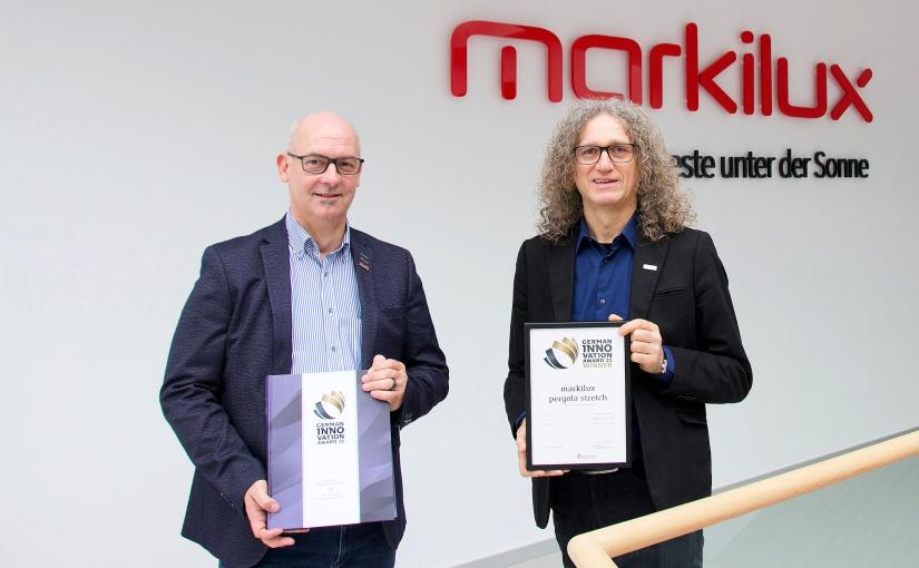 """""""pergola stretch"""" von markilux erhält """"German Innovation Award"""" 2021"""