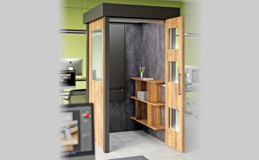 Eine Telefonbox als platzsparende Raum-im-Raum-Lösung im Großraumbüro bietet vielfältige Nutzungsmöglichkeiten mit Ruheanspruch an. - Foto: Hettich