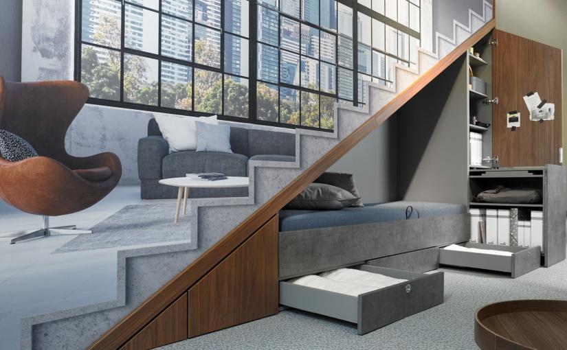 Der Wohlfühlplatz unter der Treppe oder Dachschräge wird mit wenigen Handgriffen zu einem bequemen Homeoffice. - Foto: Hettich